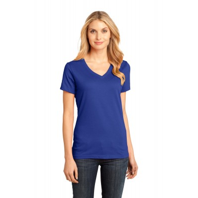 District Ladies' Perfect Weight V-Neck Tee - Sewn On Letters