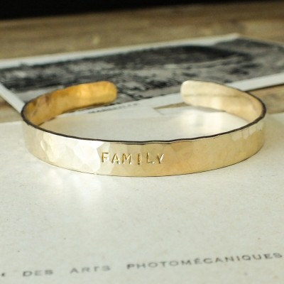 Family Hammered Cuff Bracelet