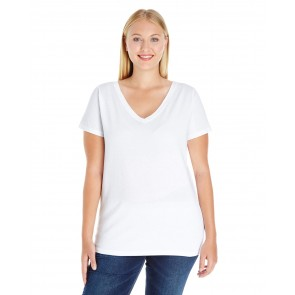 LAT Ladies' Curvy V-neck Premium Jersey T-shirt - Sewn On Letters