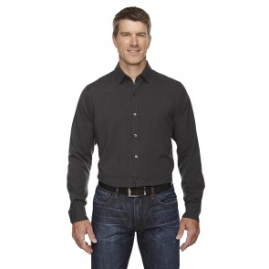 North End Men's Melange Long Sleeve Button Shirt - Sewn On Letters