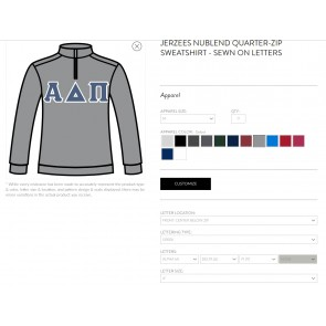 Alpha Delta Pi Quarter Zip Sorority Sweatshirt