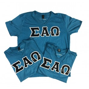 Sigma Alpha Omega V-Neck Shirt With Sewn On Letters