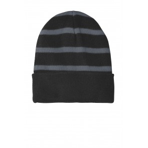 Sport-tek Striped Beanie With Solid Band - Symbol
