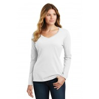 Port & Company Ladies Long Sleeve Fan Favorite V-neck Tee - Monograms