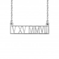 Roman Numeral Date Bar Necklace